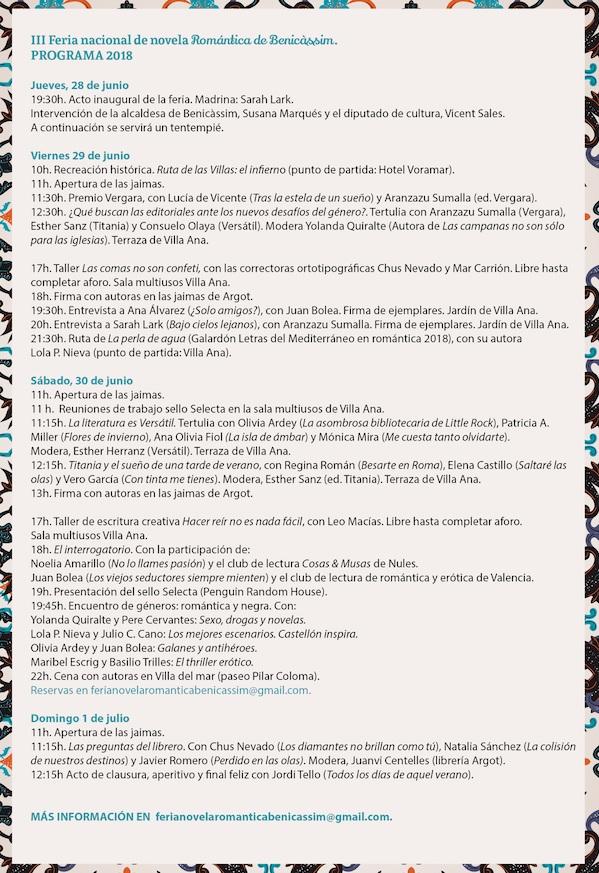 Programa III Feria Nacional de Novela Romántica