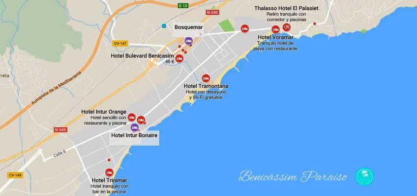 Mapa Hoteles en Benicàssim