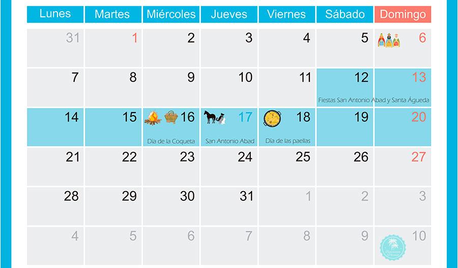 Previsión fechas fiestas San Antonio