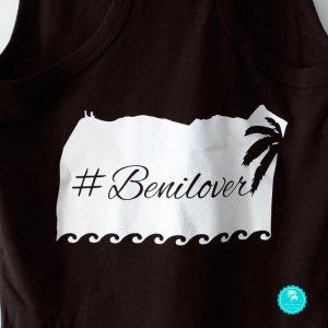 Camiseta Benicàssim negra chica nadador diseño espalda
