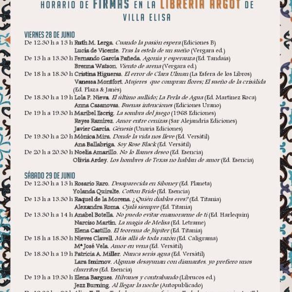 Horarios firmas Feria Nacional Novela Romántica