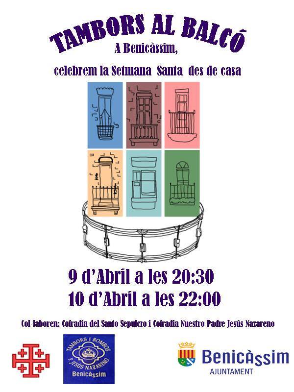 Cartel Tambors al balcó Benicàssim Semana Santa